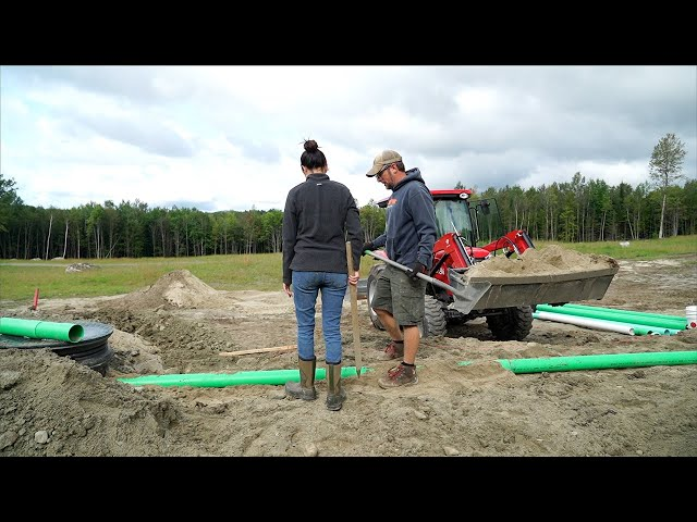 Septic System is FINISHED! We Never WANT to do that AGAIN! Building Our Tiny HOUSE in the WOODS