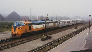 Caterpillar powered FP7 locomotive roars as it leaves Cochrane Station.  9/18/1996