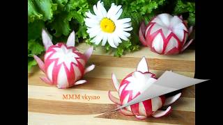 Красивый цветок Цветы из редиса Карвинг из овощей и фруктов Ммм...vkysno