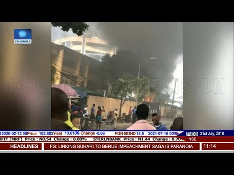 Smoke Engulfs Ecobank Headquarters After Diesel Tanker Explosion