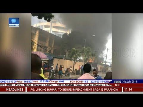 Smoke Engulfs Ecobank Headquarters After Diesel Tanker Explosion