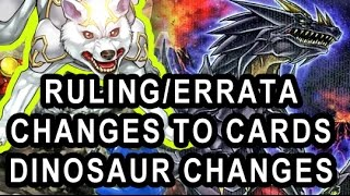 new rulings errata to older cards ryko dinosaur deck cards also link summon release date ocg