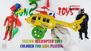 Yellow Helicopter Toys Colored For Kids Playing - Toys Video For Kids And Son