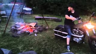 How to start a camp fire with a Harley Davidson thumbnail
