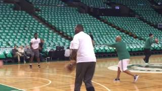 Boston Celtics rookie Jaylen Brown warming up from downtown