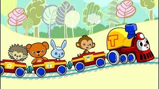 МУЛЬТфильмы для детей Паровозик Трейни едет на детскую площадку Песенка про паровозик