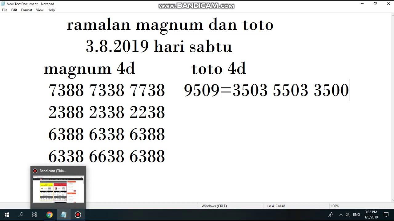 ramalan lettory 4d magnum dan toto 3 8 2019 hari sabtu