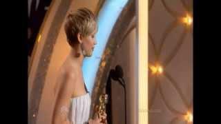 Jennifer Lawrence winning her second Golden Globe