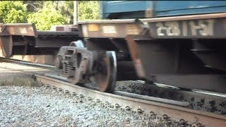 CSX Container Intermodal Train Over Bad Tracks At Crossing