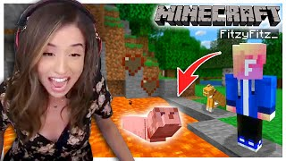 He pushed my Minecraft Cat into LAVA! Fitz and Pokimane Part 7!