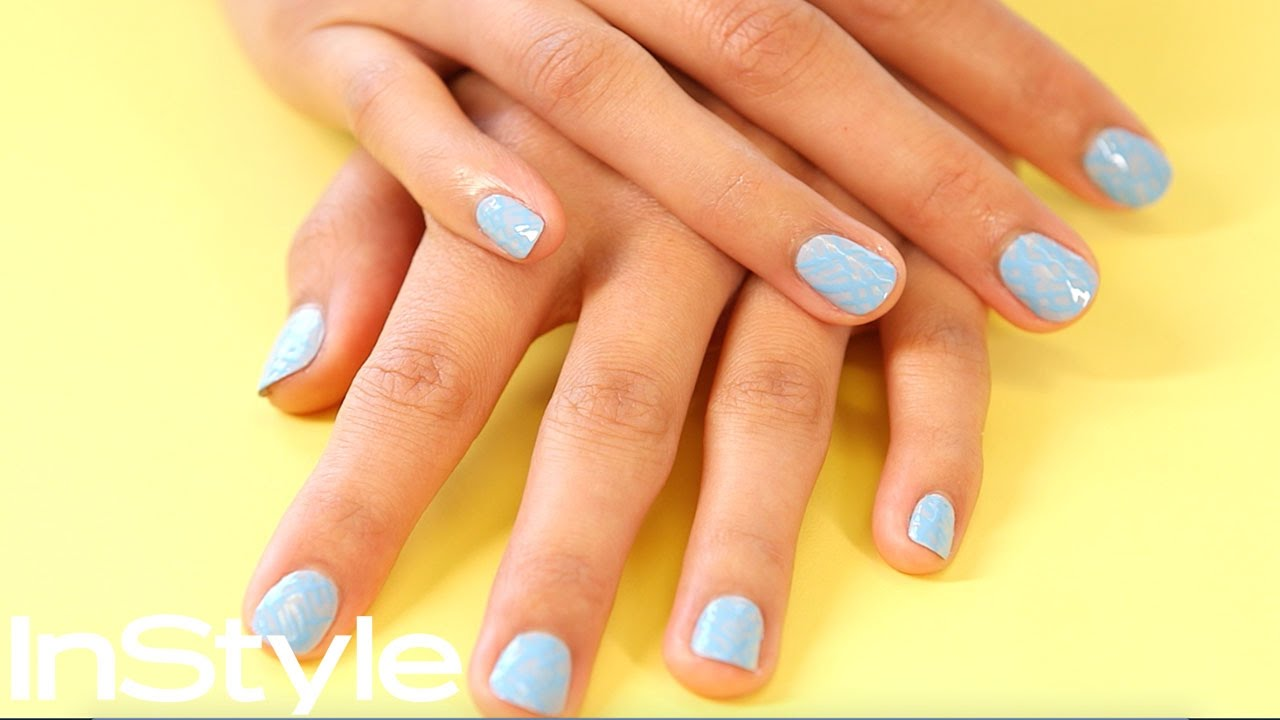 Sky Blue Nail Art Design Diy Instyle Youtube