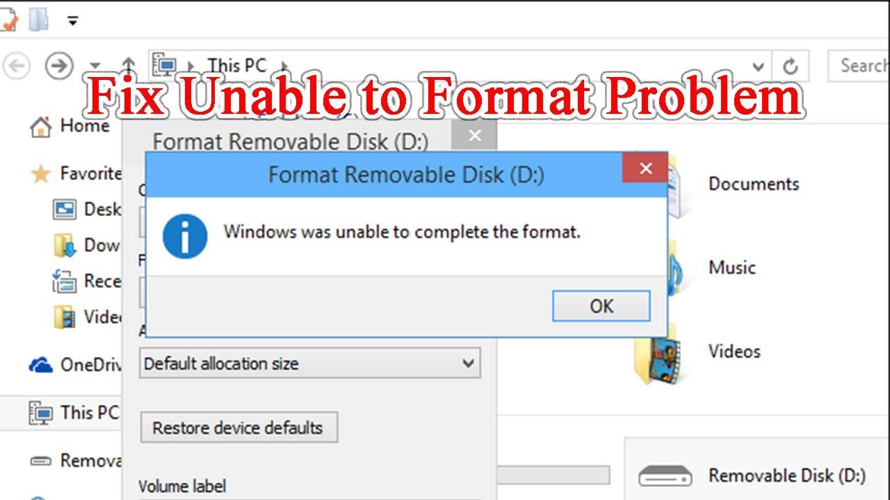 Fix Windows was Unable to Complete Format SD Card - YouTube
