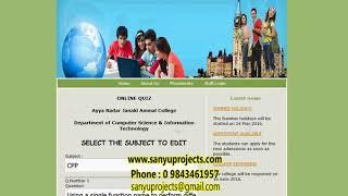 Online Quiz System PHP Mysql Project with Documentation