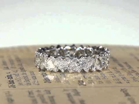 Vintage French 1950s Heart Shaped Diamond Eternity Band Ring in