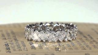 Vintage French 1950s Heart Shaped Diamond Eternity Band Ring in 18k Gold