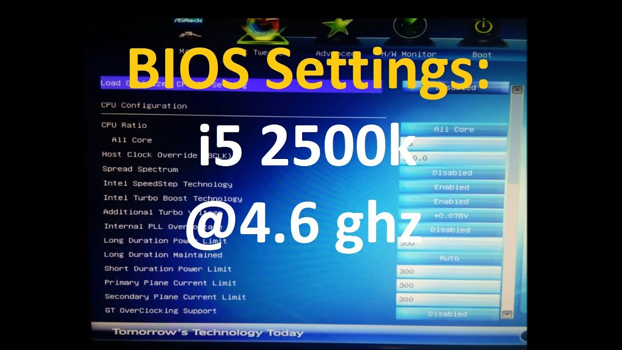BIOS Settings - How To: Overclock i5 2500k to 4 6 ghz ( ASRock Z77 MOBO )