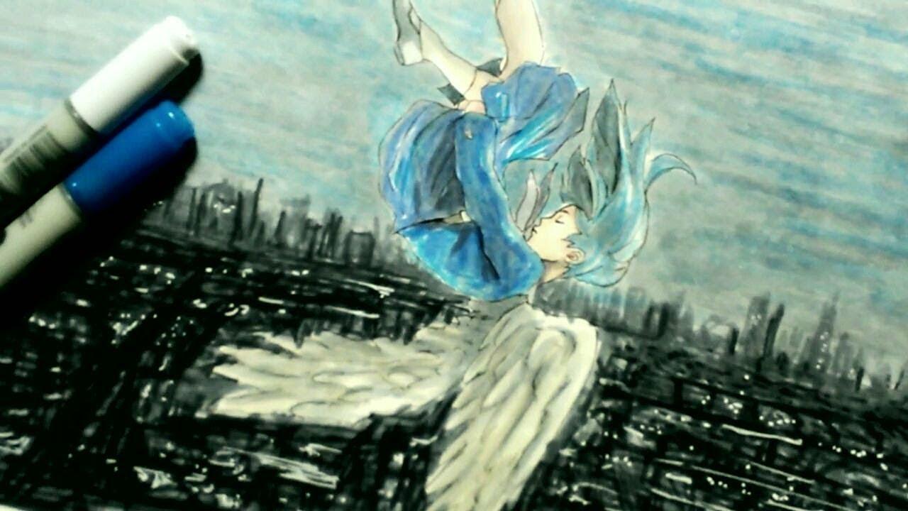 コピック女の子描いてみた 空から降ってきた天使イラスト Youtube