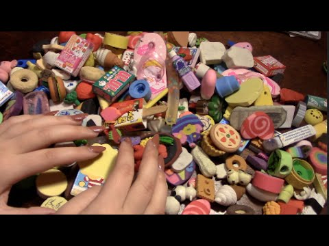 ASMR  ♡ My Eraser Collection  Whispered, tapping sounds