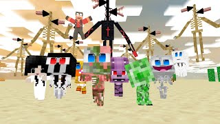 Monster School: SIREN HEAD EXE ARMY ATTACKS SNIPER 3D FUNNY CHALLENGE - Minecraft Animation