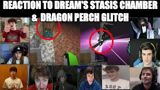Youtubers React to DRËAM STASIS CHAMBER & DRAGON PERCH GLITCH -Minecraft Manhunt vs 5 Hunters FINALE