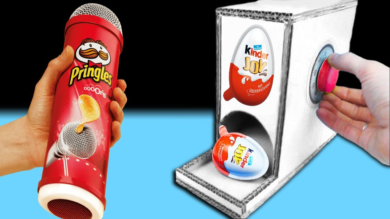 kinder joy maschine mit pringles selber bauen diy youtube. Black Bedroom Furniture Sets. Home Design Ideas
