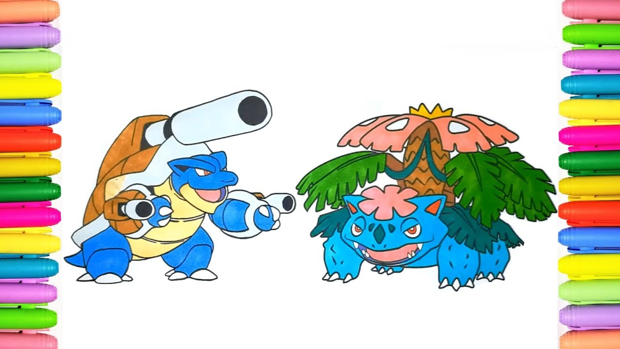 Pokemon coloring book Mega Blastoise and Mega Venusaur