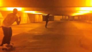Winnipeg skateboard cruising in the Fort spiral parking complex.