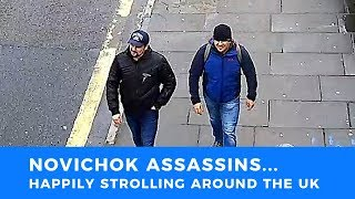 Putin's Novichok assassins identified. Pictured smiling, walking UK streets