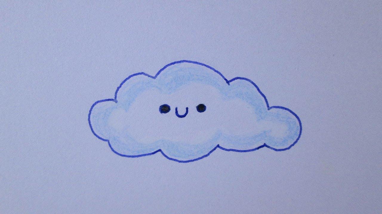 Cómo dibujar una nube kawaii - YouTube