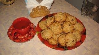 Ковбойское печенье с яблоком, орехом, изюмом и овсянкой