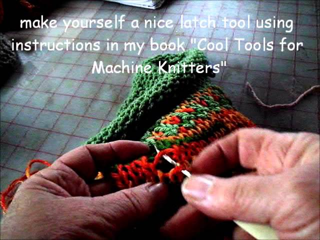 fixing a dropped stitch and using a waste yarn bind off
