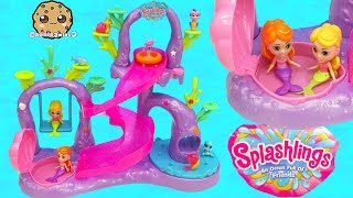 Splashlings Coral Playground with Slide into Water Pool + 6 Pack with Surprise Shell - Cookieswirlc