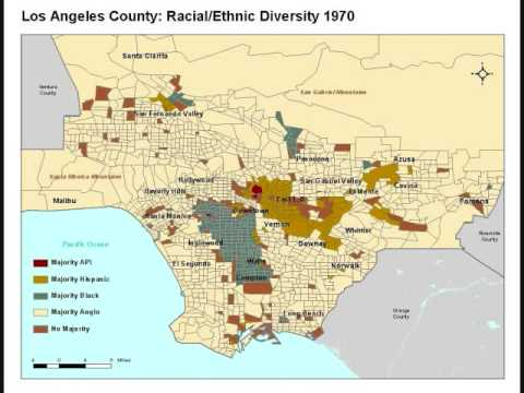 Map of ethnic diversity in Los Angeles, from 1940 to 2000
