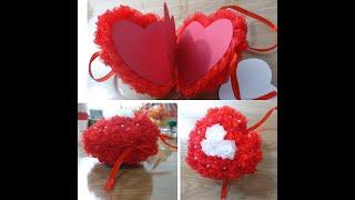 Объемное сердце канзаши ко дню влюбленных/The volumetric heart of Kansash to Valentine's Day /