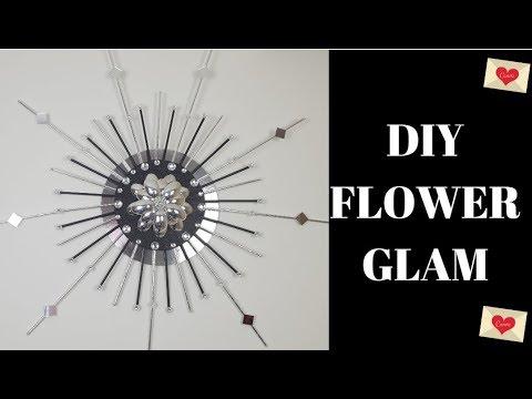 DIY Glam Flower Center wall art 🌷❤️  Home Décor Dollar Tree Project D999 🌷❤️