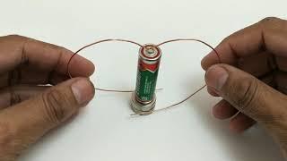 En basit Motor - DİY DC Motor kullanarak Mıknatıslar, AA Pil ve bakır tel nasıl