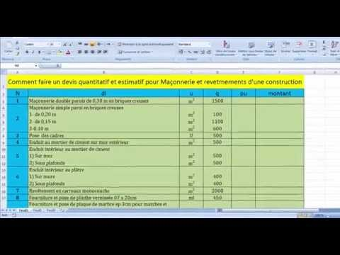 Comment faire un devis quantitatif et estimatif pour Maçonnerie et revêtements d'une construction