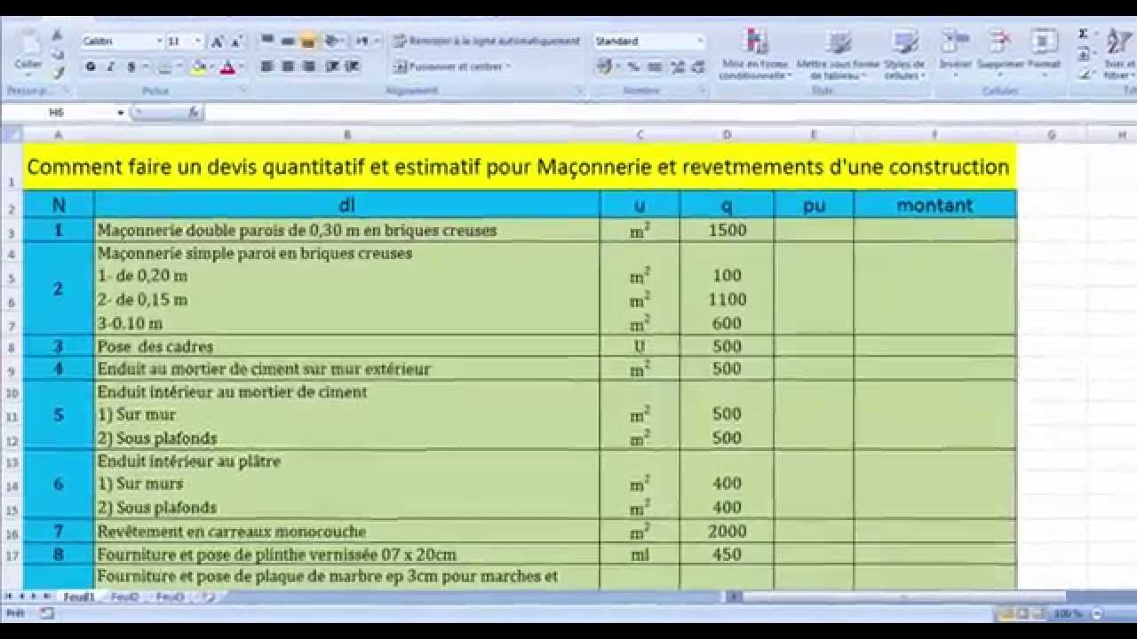Comment faire un devis quantitatif et estimatif pour for Devis pour construction maison