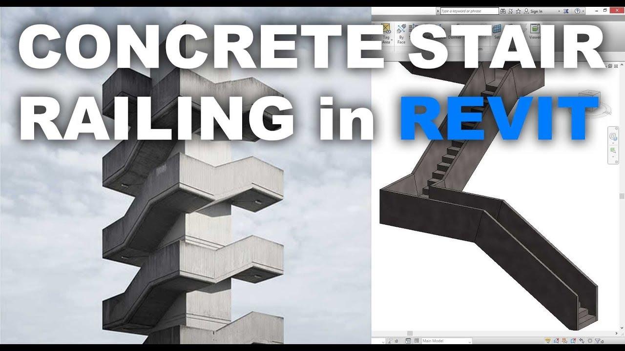 Monolithic Concrete Stair Railing in Revit Tutorial