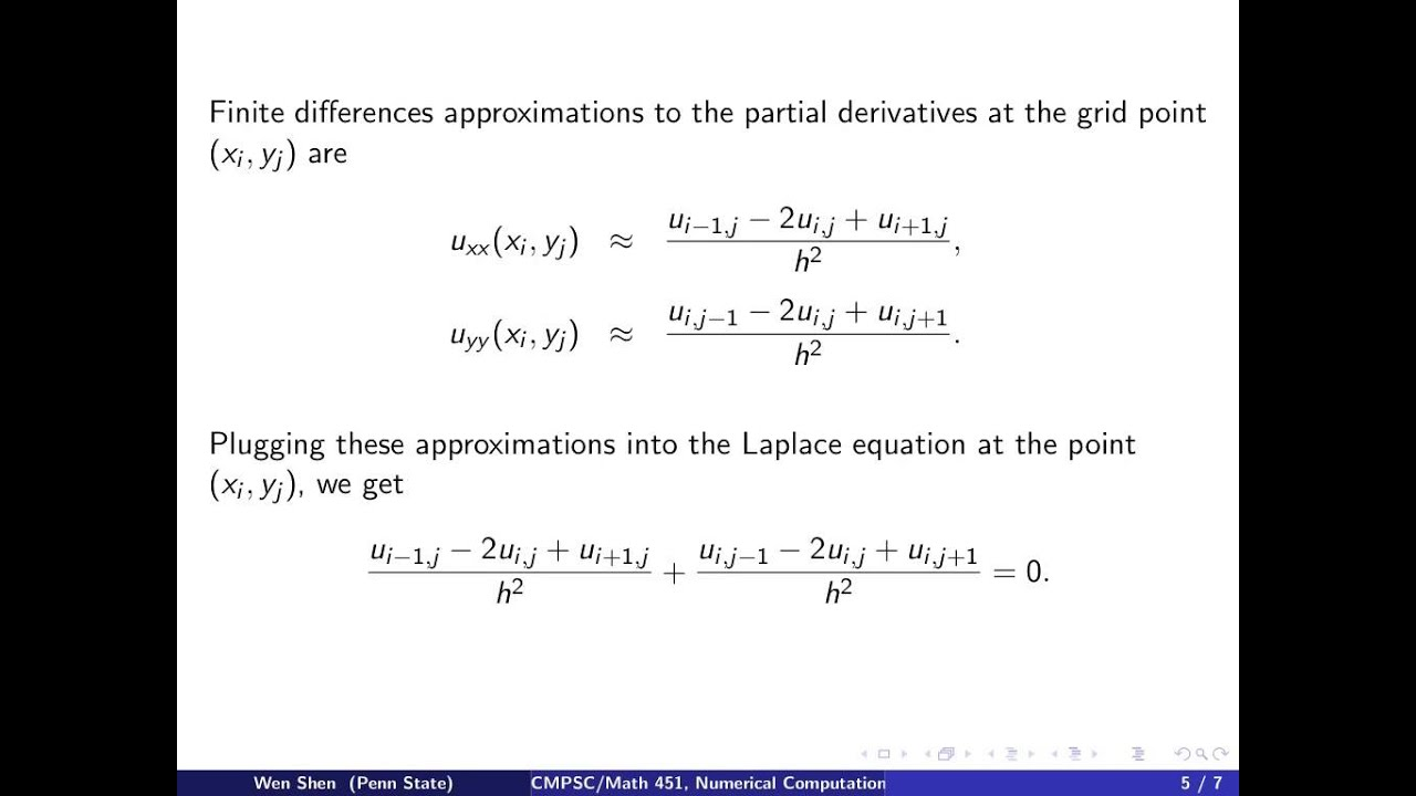 ch11 1  Finite Difference Method for Laplace Equation in 2D  Wen Shen