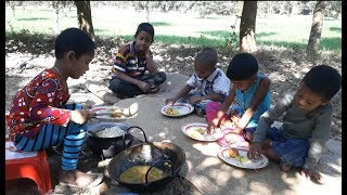 Kids Picnic | Egg Cooking By 3 Years Old Village Children And Eating Together| Maisha's Cooking Show