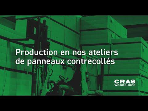 Production en nos ateliers de panneaux contrecollés