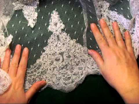 Working with lace: wedding dress hem.