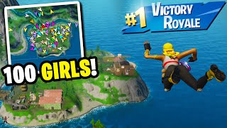 I Got 100 GIRLS to Compete by ONLY Landing at the UNKNOWN ISLAND... (I WON!)