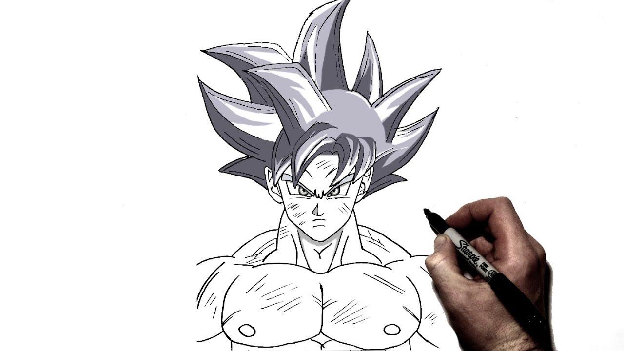 How to draw goku ultra instinct step by step dragonball youtube - Goku ultra instinct sketch ...