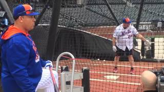 Bartolo Colon watches Kevin James take batting practice