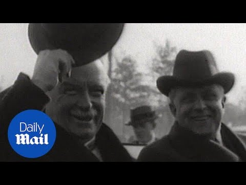 Archive: British PM David Lloyd George motorcades through crowds - Daily Mail