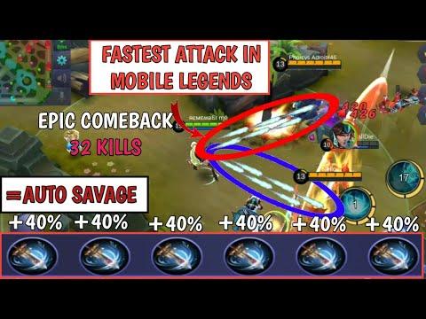 FASTEST ATTACK IN MOBILE LEGENDS   6 WINDTALKER = AUTO SAVAGE   MOBILE LEGENDS