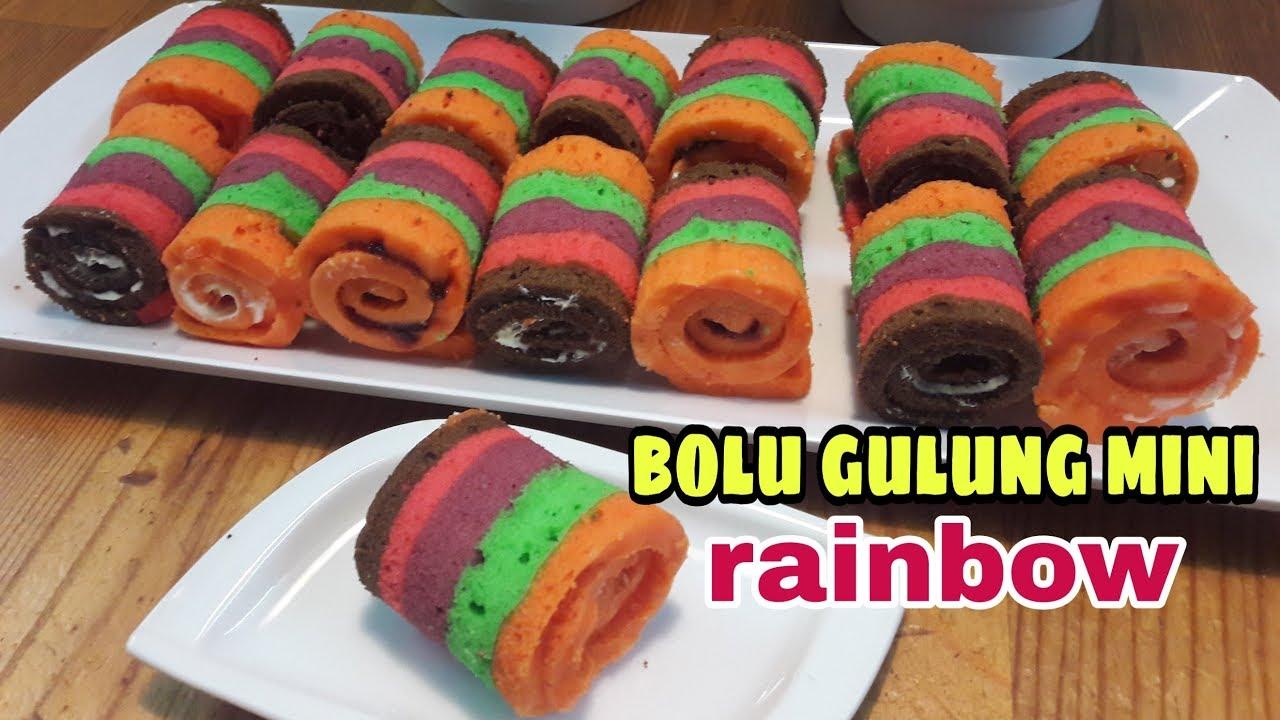 RESEP BOLU GULUNG MINI RAINBOW ||cake rainbow - YouTube