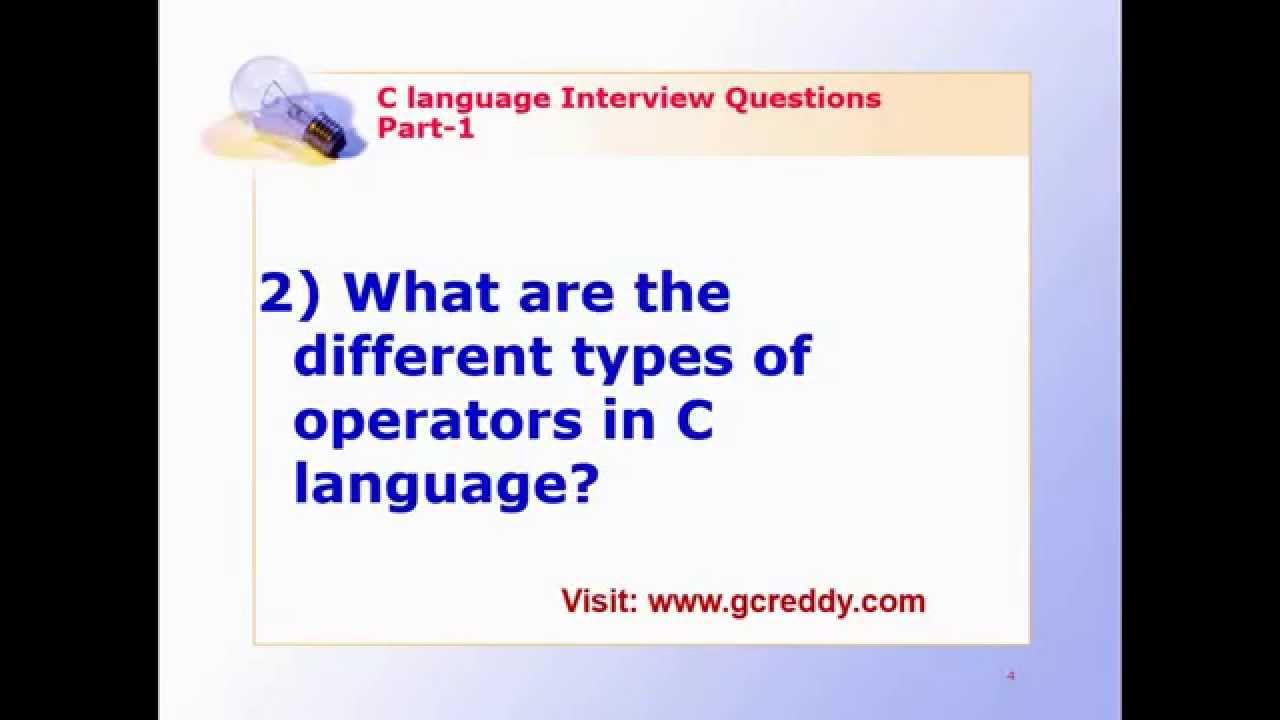 C Language Interview Questions Part 2 Youtube